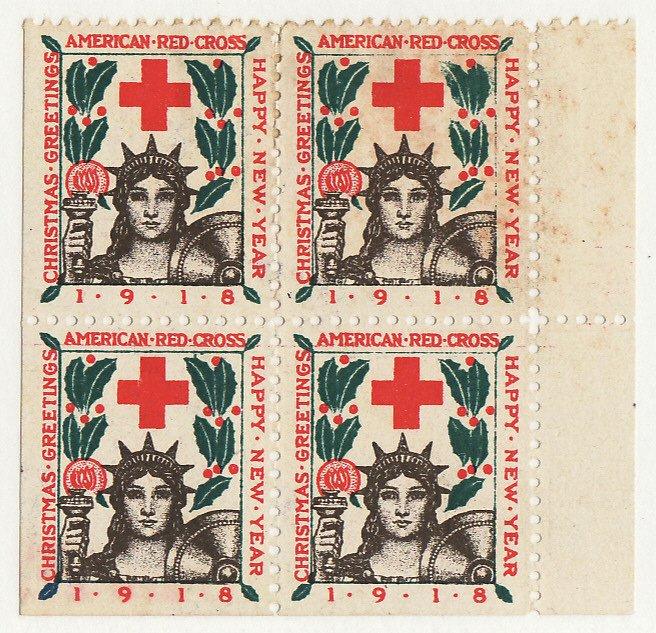 1918-2x7, WX22j, 1918 U.S. National Christmas Seals Block, Type 2