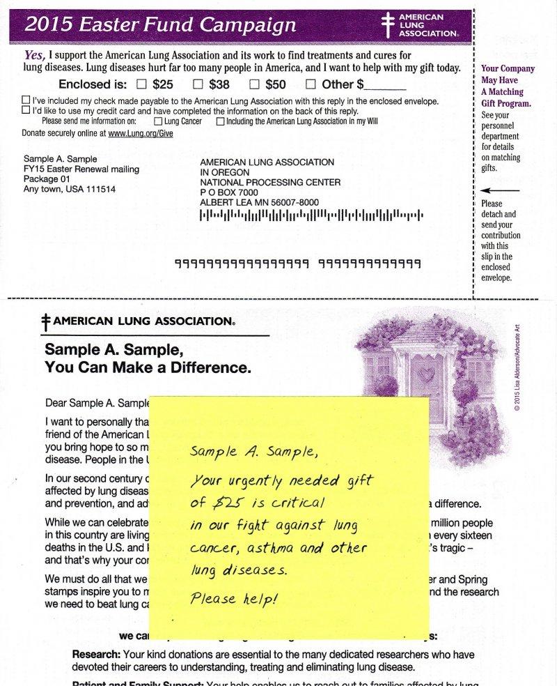 2105 U.S. Spring Seal Easter Campaign Fund Raising Return Envelope