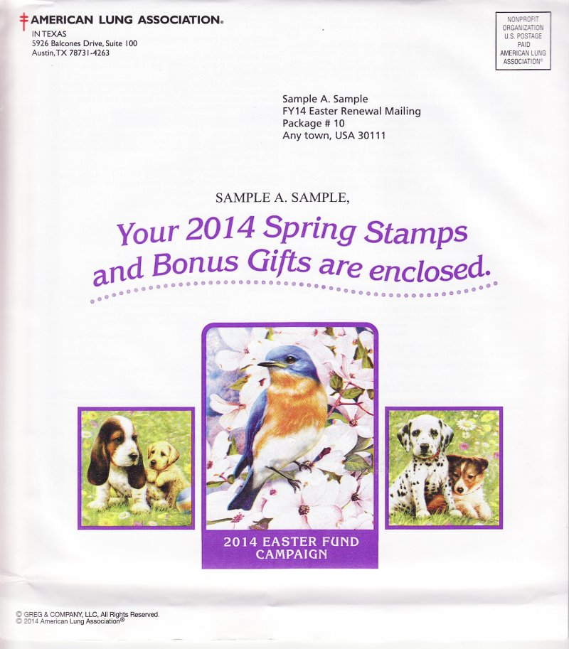 2014-S3pac, 2014 ALA U.S. Spring Charity Seal Easter Fund Packet, R14EFAS10, reverse of envelope