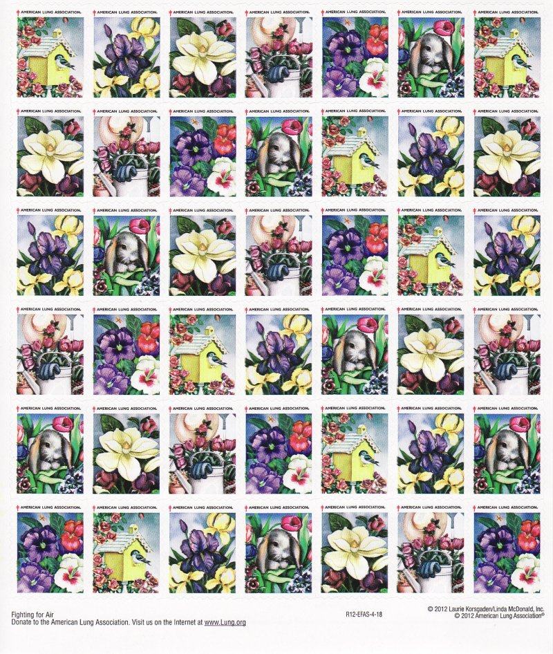 2012-S5x, 2012 ALA U.S. Spring Charity Seals Sheet, R12-EFAS-4-18, reverse of sheet