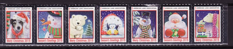 2015-1, 2015 U.S. Christmas Seals, As Required, Strip of 7 Seals