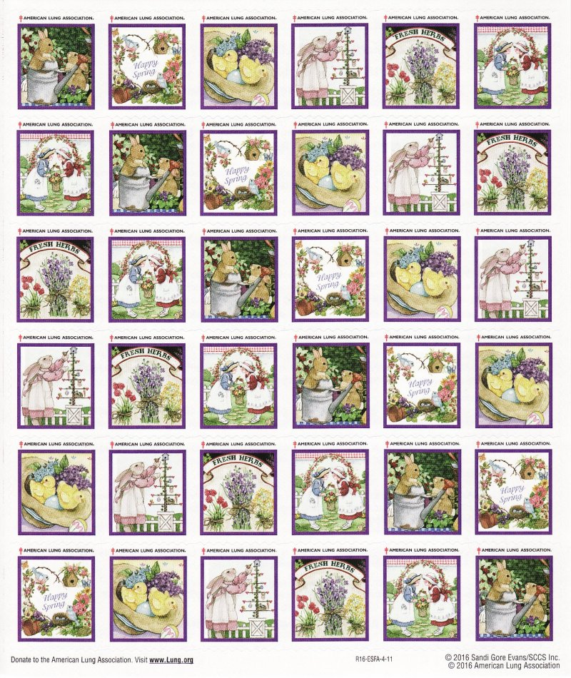 2016-S2x, 2016 U.S. Spring Charity Seals Sheet, R16-ESFA-4-11, reverse of sheet
