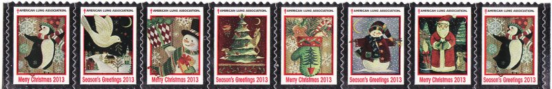 2013-1, 2013 U.S. Christmas Seals, As Required Strip of 8 Designs
