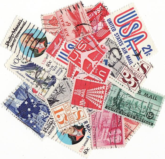 U.S. Airmail Stamps, Stamp Packet Collection, 25 different Airmail stamps