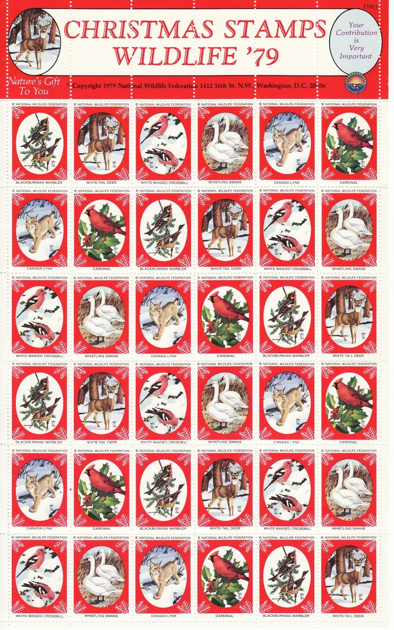 NWF 8-255C.24, 1979 National Wildlife Federation Christmas Charity Stamps Sheet