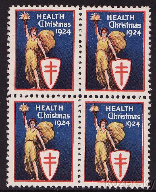 1924-3 WX32, 1924 U.S. Christmas TB Charity Seals, blk/4