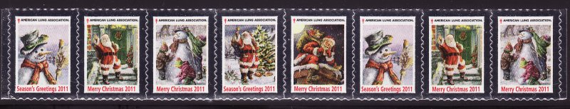 2011-1, 2011 U.S. Christmas Seals, As Required Strip of 8 Designs