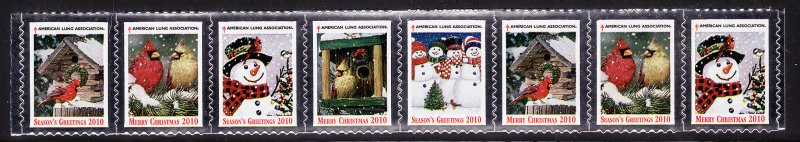 2010-1, 2010 U.S. Christmas Seals, As Required Strip of 8 Designs