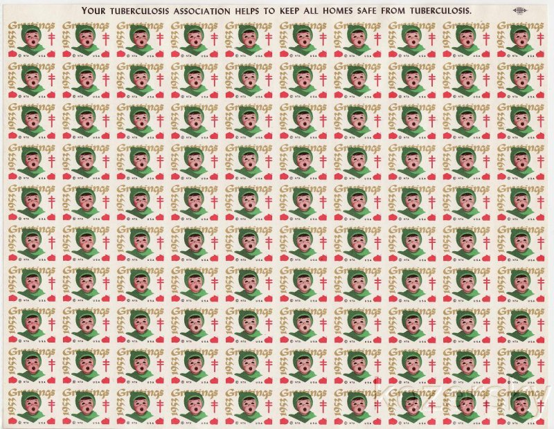 1953-1px, 1953 U.S. National Christmas Seals, Imperforate Proof Sheet