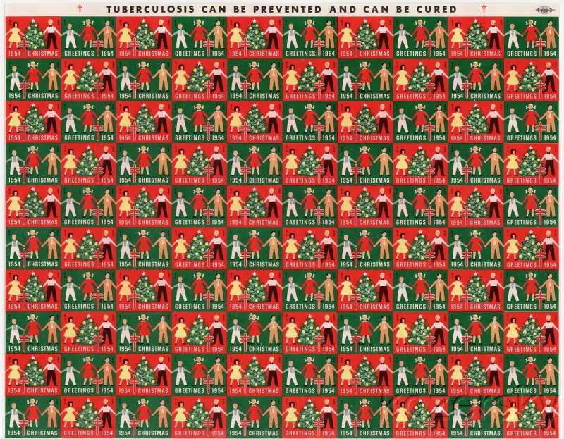 1954-4px, 1954 U.S. National Christmas Seals, Imperforate Proof Sheet