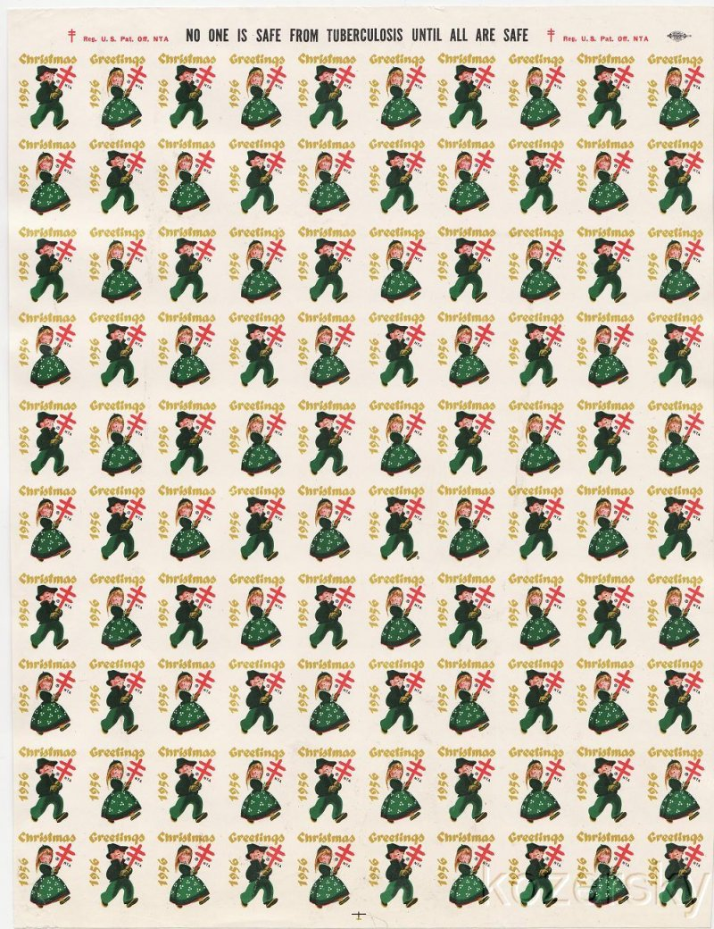 1956-2px, 1956 U.S. National Christmas Seals, Imperforate Proof Sheet