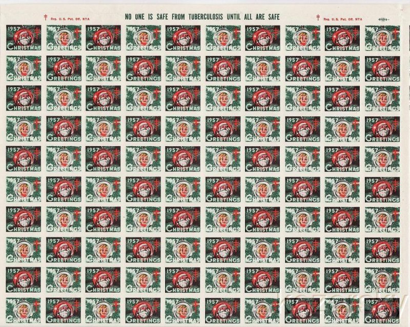 1957-2p1x, 1957 U.S. National Christmas Seals, Imperforate Proof Sheet
