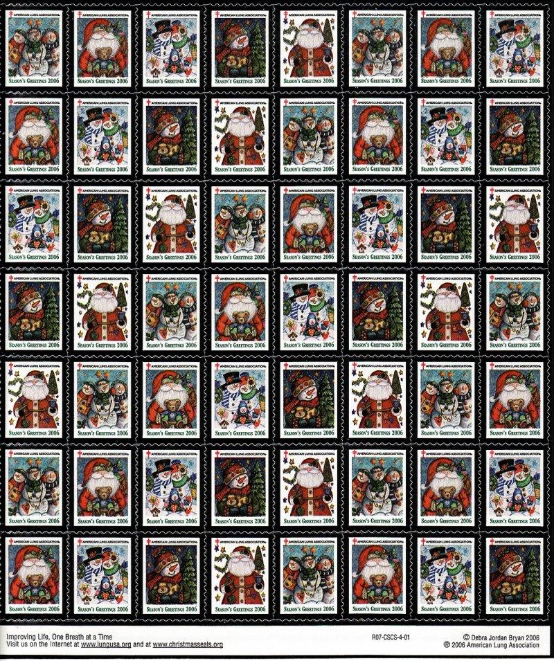 2006-1x1, 2006 U.S. National Christmas Seals Sheet, R07-CSCS-4-01 - reverse of sheet