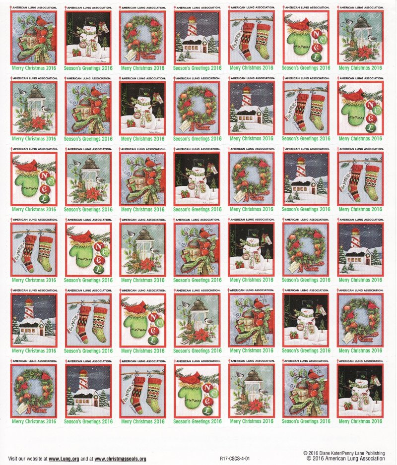 2016-1x1, 2016 U.S. National Christmas Seals Sheet, R17-CSCS-4-01, reverse of sheet