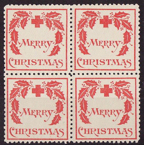 1907-1, WX1, 1907 U.S. Red Cross Christmas Seals, Block, Type 1, VF