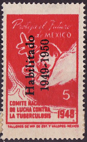 Mexico 7.2, 1949 Mexico TB Charity Seal, Type 2