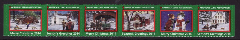 2014-1, 2014 U.S. Christmas Seals, As Required Strip of 6 Designs