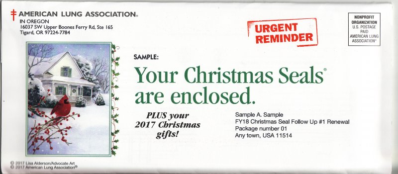 2017 ALA Renewal Campaign Donation Return Envelope, reverse of envelope