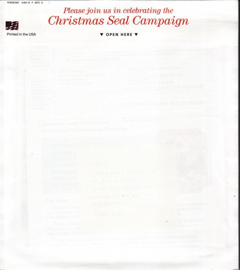 MP117-1, 2017 U.S. Christmas Seals Themed Memo Pad, FY18LGNP20
