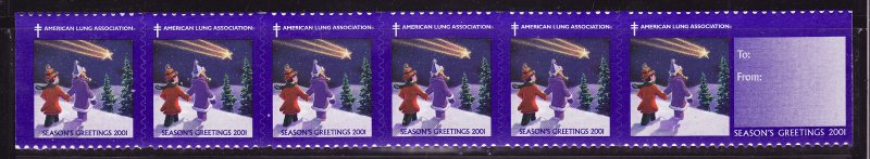 2001-2xB, 2001 U.S. Christmas Seals, As Required, Strip of 8