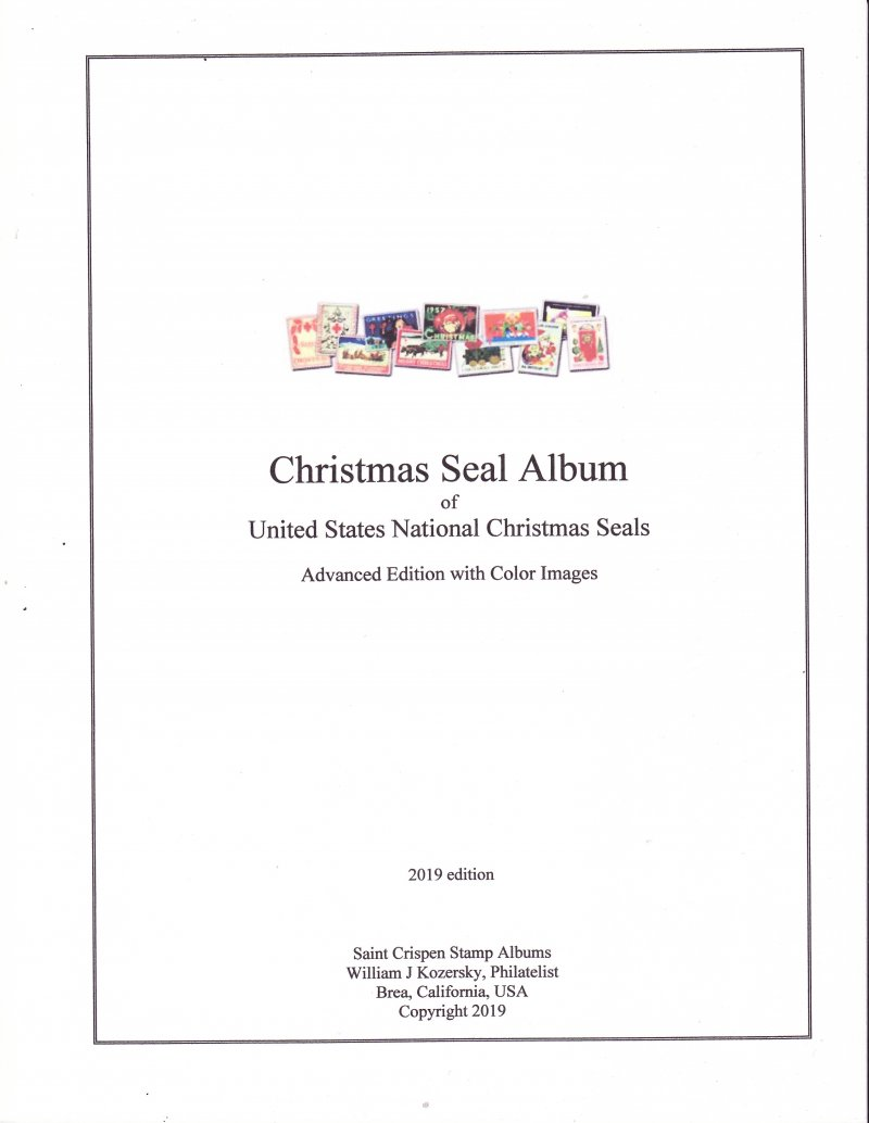 U.S. National Christmas Seal Stamp Album, 1907-2015, Advanced Edition, w/color images (white)