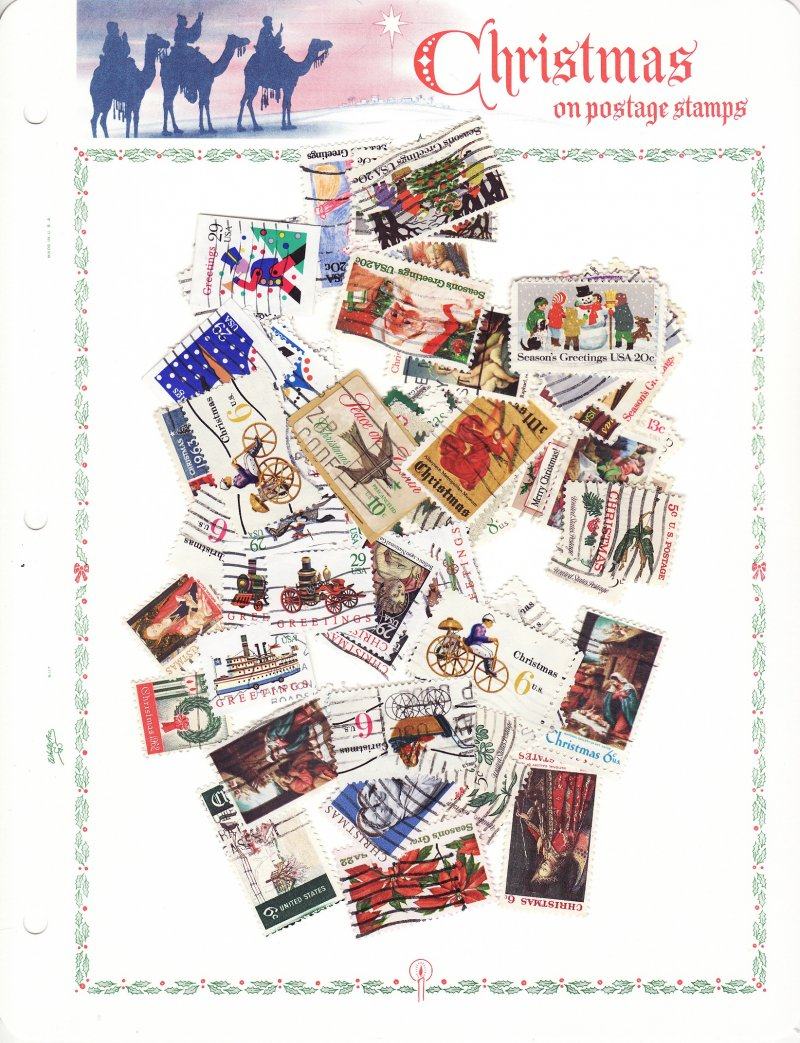 U S  Christmas Stamp Collection with White Ace Album Pages