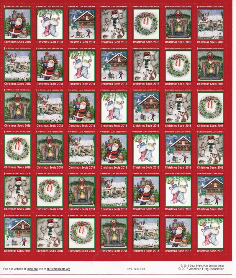 2018-1x1, 2018 U.S. National Christmas Seals Sheet, R19-CSCS-4-01, reverse of sheet