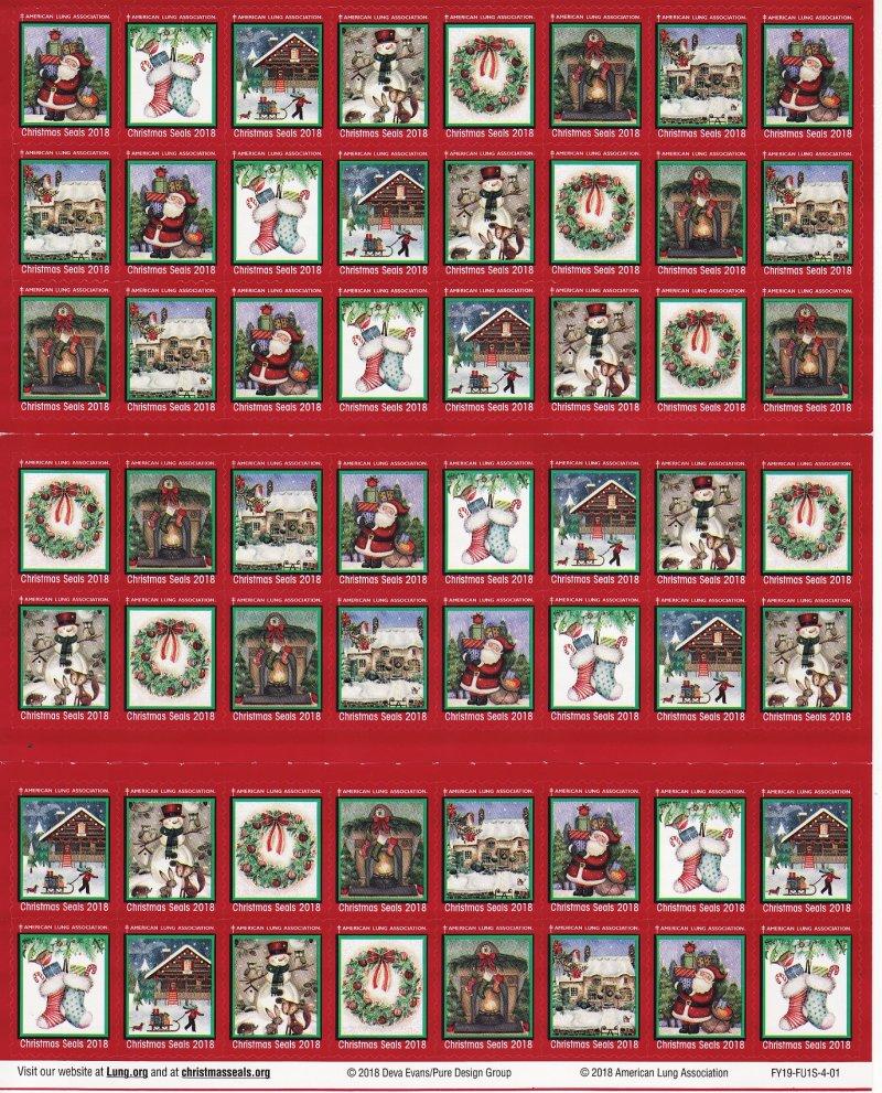 2018-1x2, 2018 U.S. National Christmas Seals Sheet, FY19-FU1S-4-01