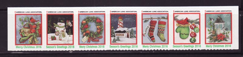 2016-1, 2016 U.S. Christmas Seals, As Required Strip of 7 Designs