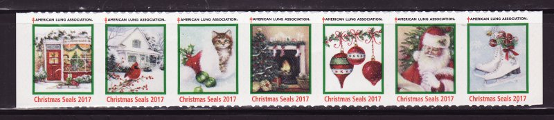 2017-1, 2017 U.S. Christmas Seals, As Required Strip of 7 Designs