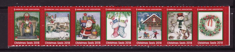 2018-1, 2018 U.S. Christmas Seals, As Required Strip of 7 Designs