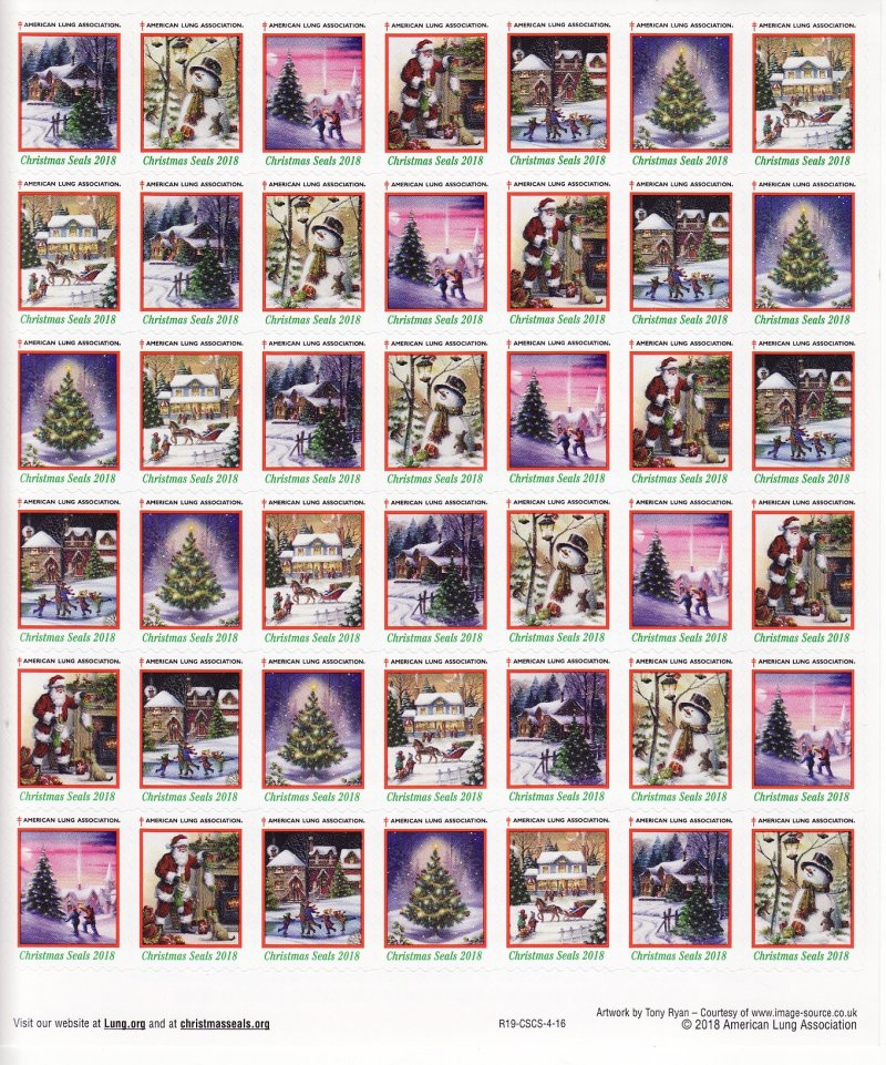 2018-T4x, 2018 U.S. Christmas Seals Test Designs Sheet, R19-CSCS-4-16, reverse of sheet