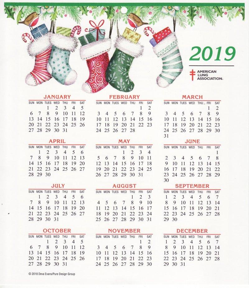 CL118-1, 2019 ALA Christmas Seals Themed Calendar, FY19-Cal-01, reverse of calendar