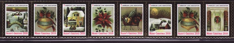 2010-T3, 2010 U.S. Christmas Seal Test Design As Required Strip of 8 Designs