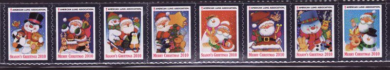 2010-T1.1, 2010 U.S. Christmas Seal Test Design As Required Strip of 8 Designs