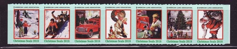 2018-T2, 2018 U.S. Test Design Christmas Seals, As Required Strip of 7 Designs