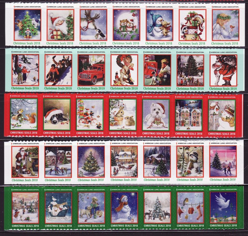 2018-T5, 2018 U.S. Test Design Christmas Seals, As Required Strip of 7 Designs