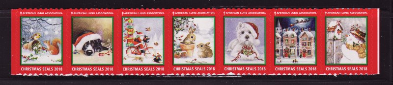 2018-T3, 2018 U.S. Test Design Christmas Seals, As Required Strip of 7 Designs