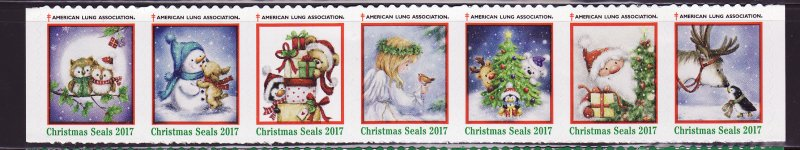 2017-T2, 2017 U.S. Test Design Christmas Seals, As Required Strip of 7 Designs
