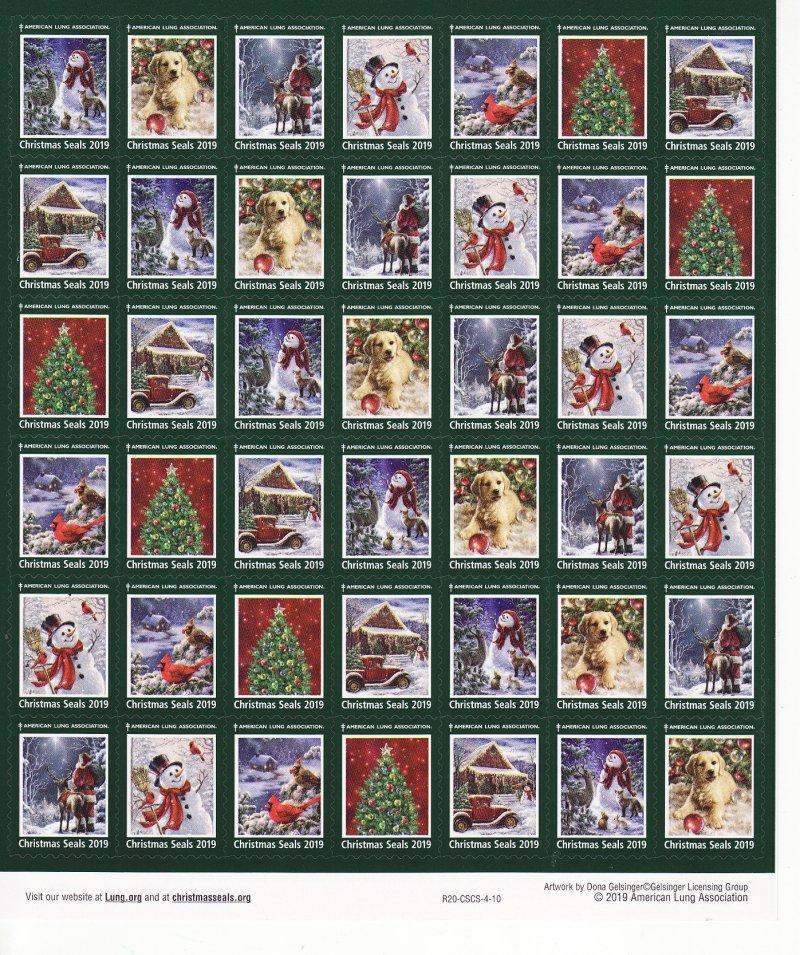 2019-T3x, 2019 U.S. Christmas Seals Test Designs Sheet, R19-CSCS-4-10, reverse of sheet