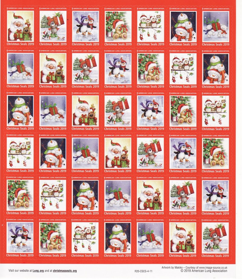 2019-T4x, 2019 ALA Test Design U.S. Christmas Seals Sheet, R19-CSCS-4-11, reverse of sheet