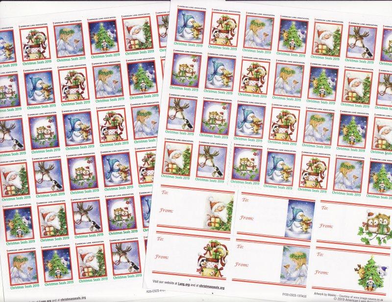 2019-1x3, 2019 U.S. National Christmas Seals Sheet, FY20-CSCS-13TAGS, reverse of sheet