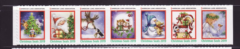 2019-1, 2018 ALA U.S. National Christmas Seals, As Required Strip of 7 Designs
