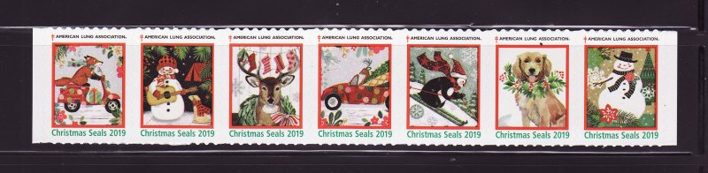 2019-T1, 2019 U.S. Test Design Christmas Seals, As Required Strip of 7 Designs