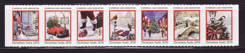 2019-T2, 2019 U.S. Test Design Christmas Seals, As Required Strip of 7 Designs