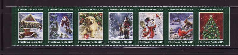 2019-T3, 2018 U.S. Test Design Christmas Seals, As Required Strip of 7 Designs