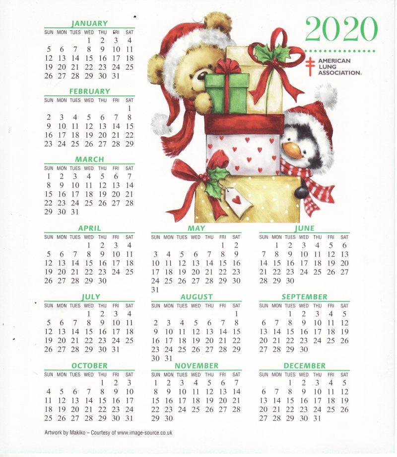 Christmas Seals 2020 CL119 1, ALA 2020 U.S. Christmas Seals Themed Calendar, FY20 Cal 01