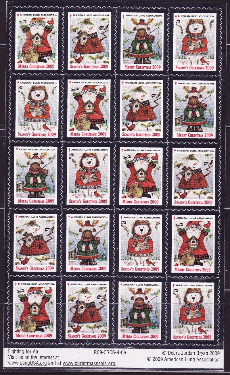 2009-1x5, 2009 U.S. National Christmas Seals Pane, R09-CSCS-4-06, reverse of pane