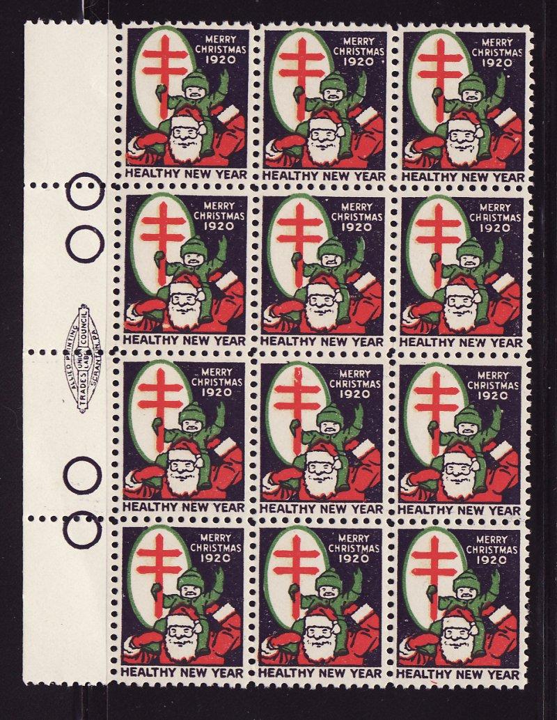 1920-1, WX26a, U.S. Christmas TB Seals Block, Type 1, perf. 12, reverse of block