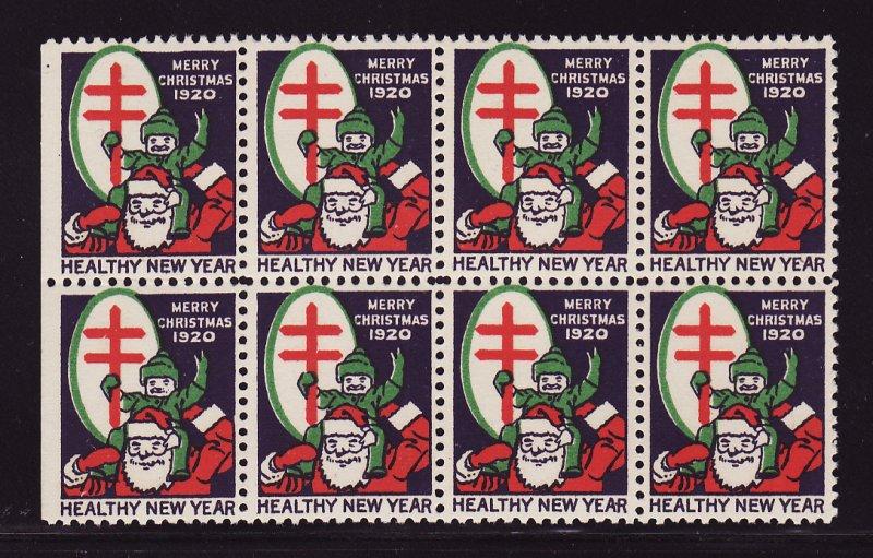 1920-2B, WX26a, U.S. Christmas TB Seals Block, Type 2B